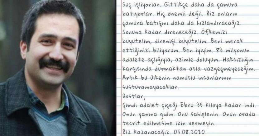 Aytaç Ünsal, tutulduğu Kanuni Sultan Süleyman Eğitim Araştırma Hastanesi'nden not gönderdi