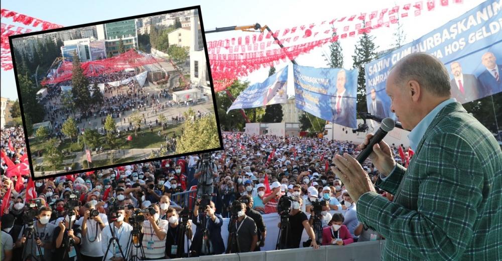 Erdoğan'ın şoke eden miting fotoğrafını paylaştı!