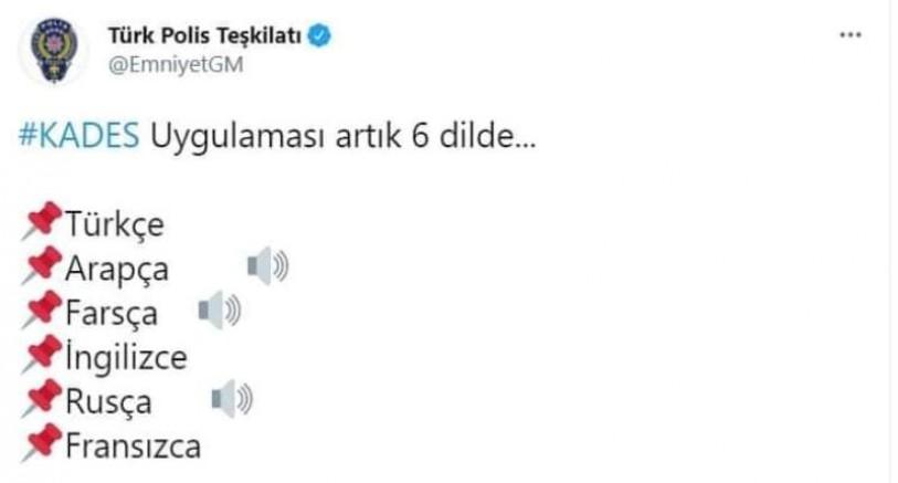 KADES uygulamasında 6 dil var ama Kürtçe yok