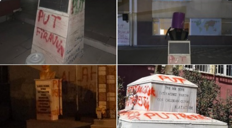 Tekirdağ'da Atatürk heykellerine bir günde üç saldırı