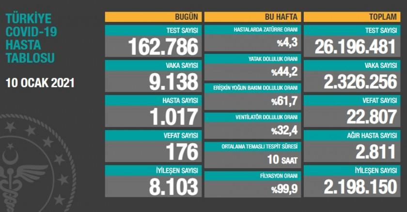 Türkiye'de Son 24 saat içerisinde 176 kişi daha yaşamını yitirdi
