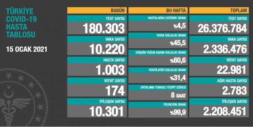 Türkiye'de son 24 saatte 174 kişi koronavirüsten yaşamını yitirdi