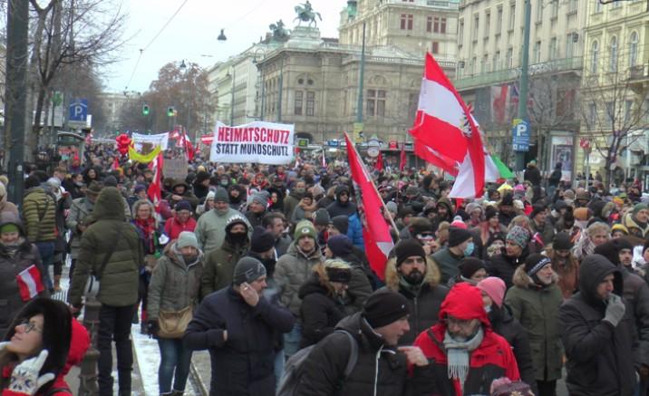 Viyana 'da yaklaşık 10 bin kişi koronavirüs önlemlerini protesto etti