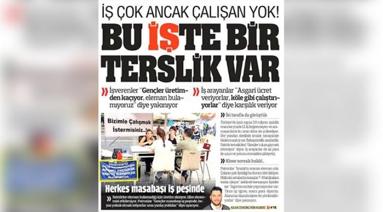 Yandaş Türkiye gazetesi: İş çok ancak çalışan yok
